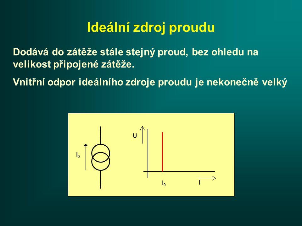 Skutečný zdroj proudu I0I0 USUS RiRi RZRZ IZIZ I 0 -I Z Je tvořen ideálním zdrojem proudu I 0 k němuž je paralelně připojen vnitřní odpor R i.