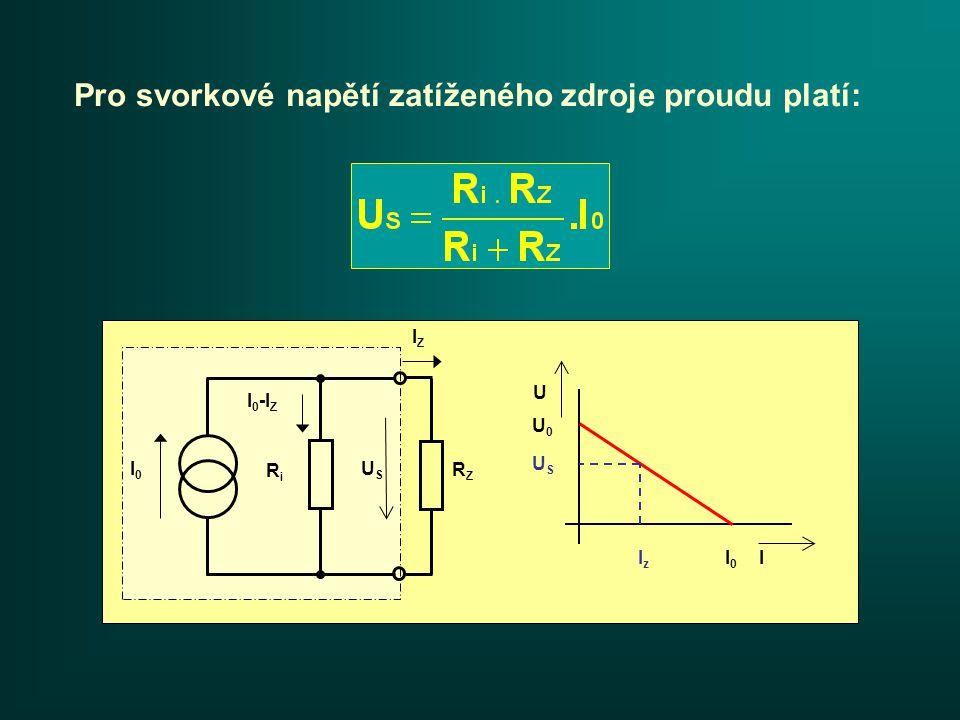Příklad: Vypočítejte svorkové napětí u skutečného zdroje proudu.