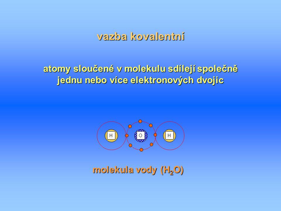 vazba kovalentní atomy sloučené v molekulu sdílejí společně jednu nebo více elektronových dvojic O HH molekula vody (H 2 O)
