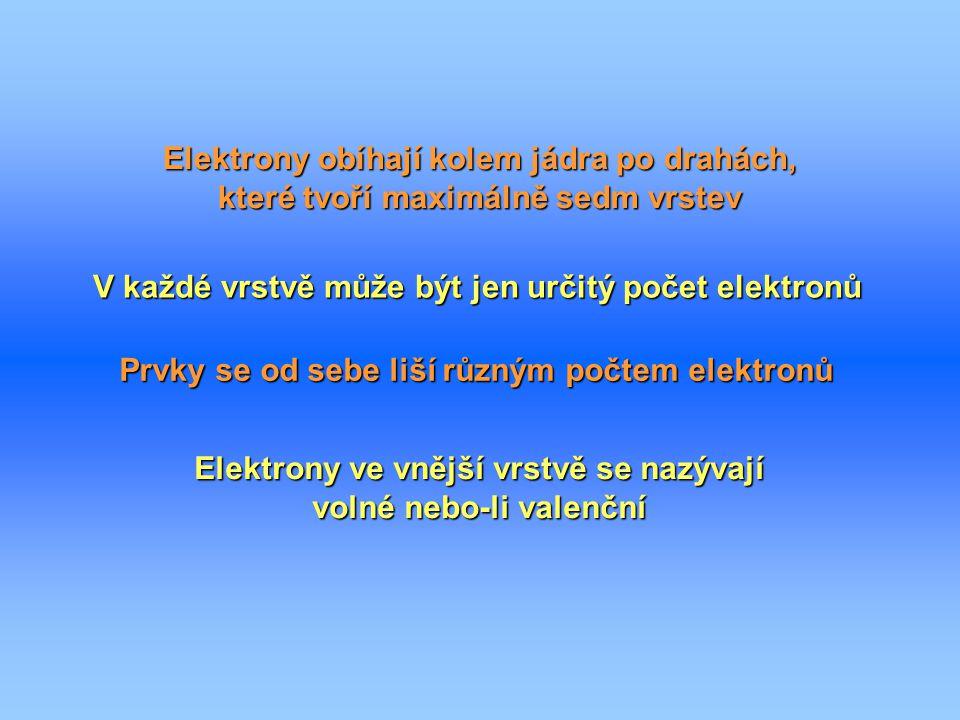 Elektrony obíhají kolem jádra po drahách, které tvoří maximálně sedm vrstev V každé vrstvě může být jen určitý počet elektronů Prvky se od sebe liší r