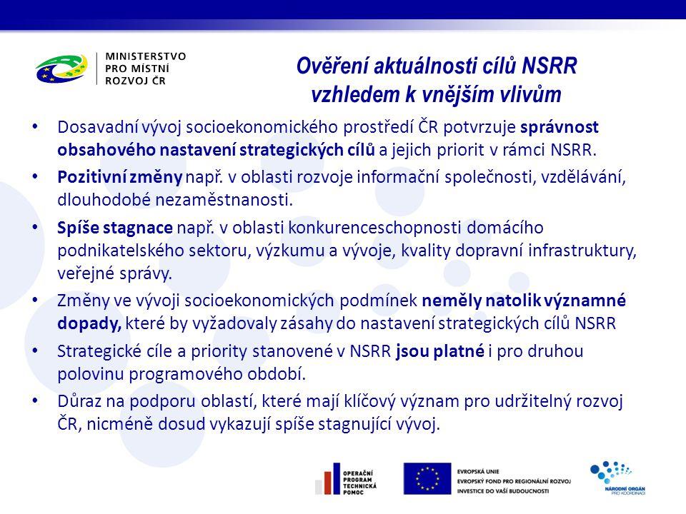 Dosavadní vývoj socioekonomického prostředí ČR potvrzuje správnost obsahového nastavení strategických cílů a jejich priorit v rámci NSRR. Pozitivní zm