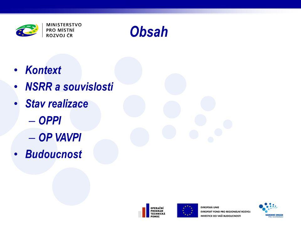 Obsah Kontext NSRR a souvislosti Stav realizace – OPPI – OP VAVPI Budoucnost
