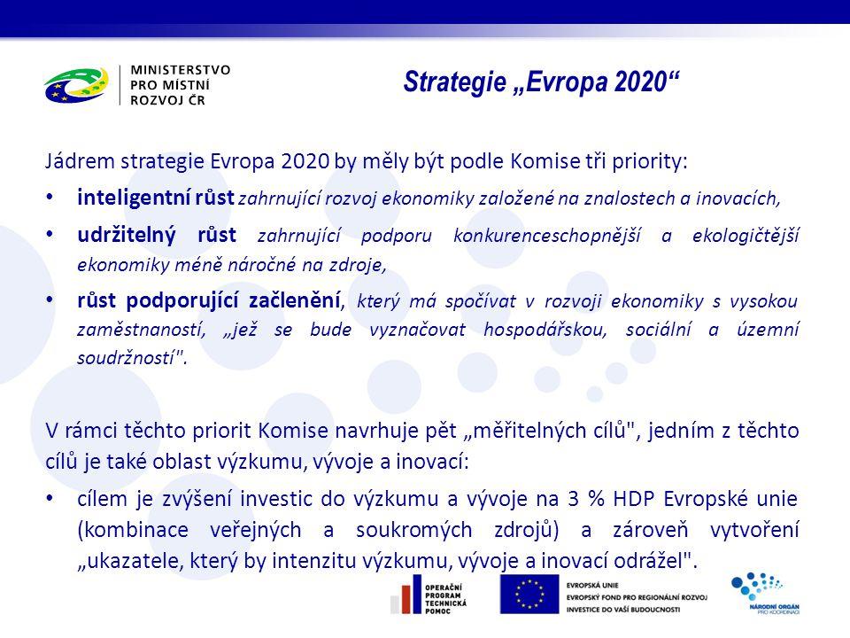 Jádrem strategie Evropa 2020 by měly být podle Komise tři priority: inteligentní růst zahrnující rozvoj ekonomiky založené na znalostech a inovacích,