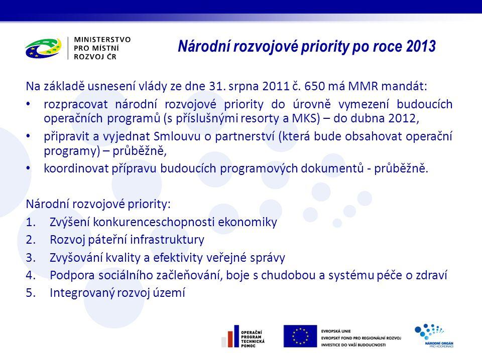 Na základě usnesení vlády ze dne 31. srpna 2011 č. 650 má MMR mandát: rozpracovat národní rozvojové priority do úrovně vymezení budoucích operačních p