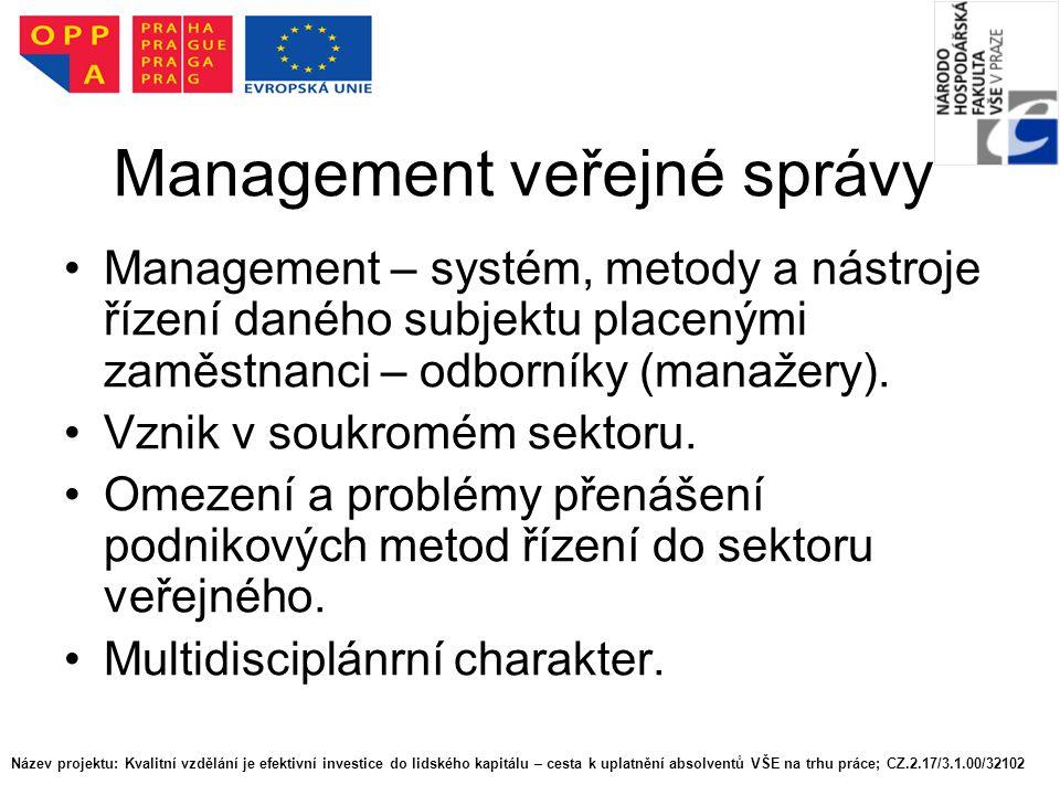 Management veřejné správy Management – systém, metody a nástroje řízení daného subjektu placenými zaměstnanci – odborníky (manažery). Vznik v soukromé