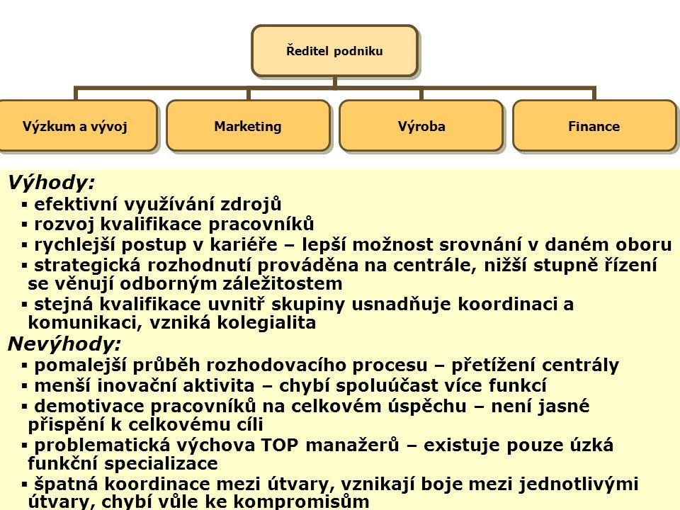Funkcionální, výrobkové a ostatní účelové organizační struktury Funkcionální struktury : jsou založeny na funkční specializaci dílčích strukturních je