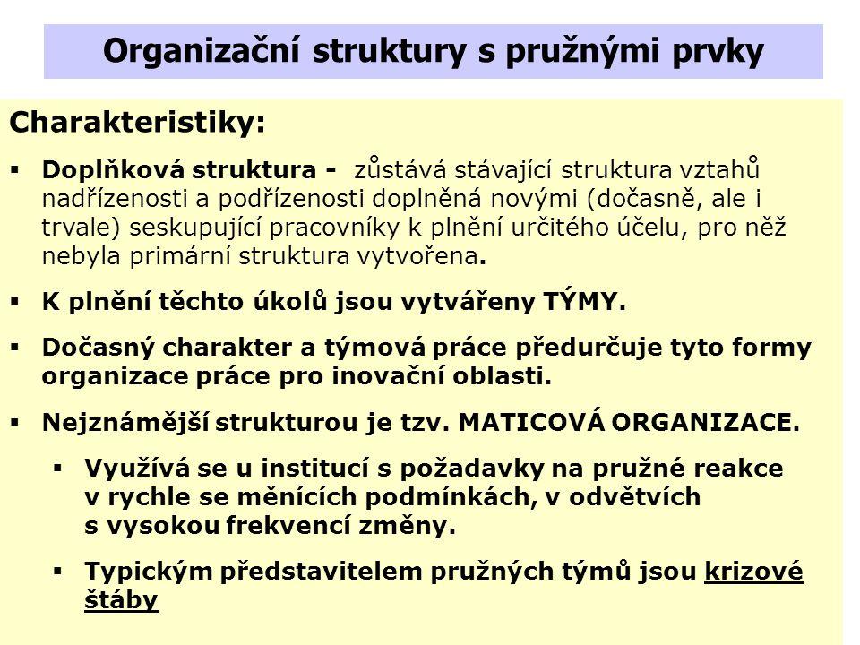 Štábní organizace – plní především poradní funkce. Za využití a výsledky práce strukturálních jednotek zodpovědnost nenesou. Charakteristiky:  Využív