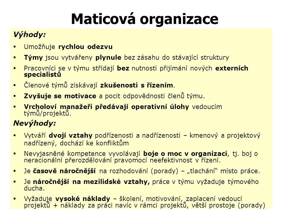 Maticová organizace - příklad -