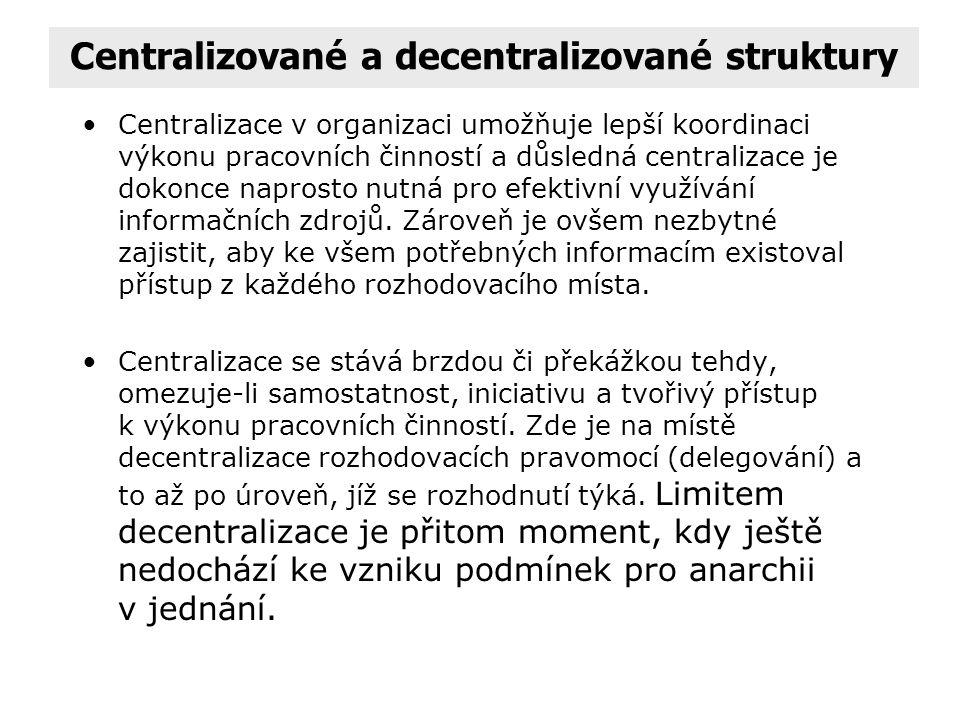 Centralizované a decentralizované struktury Charakteristickým znakem je to, zda v činnosti strukturní jednotky vůči podřízeným útvarům převažuje strik