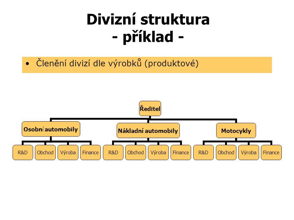 Divizní struktura  Divize  Ekonomicky nezávislá, komplexně vybavená organizační jednotka s vysokou autonomií pro výrobu jednoho nebo skupinu produkt