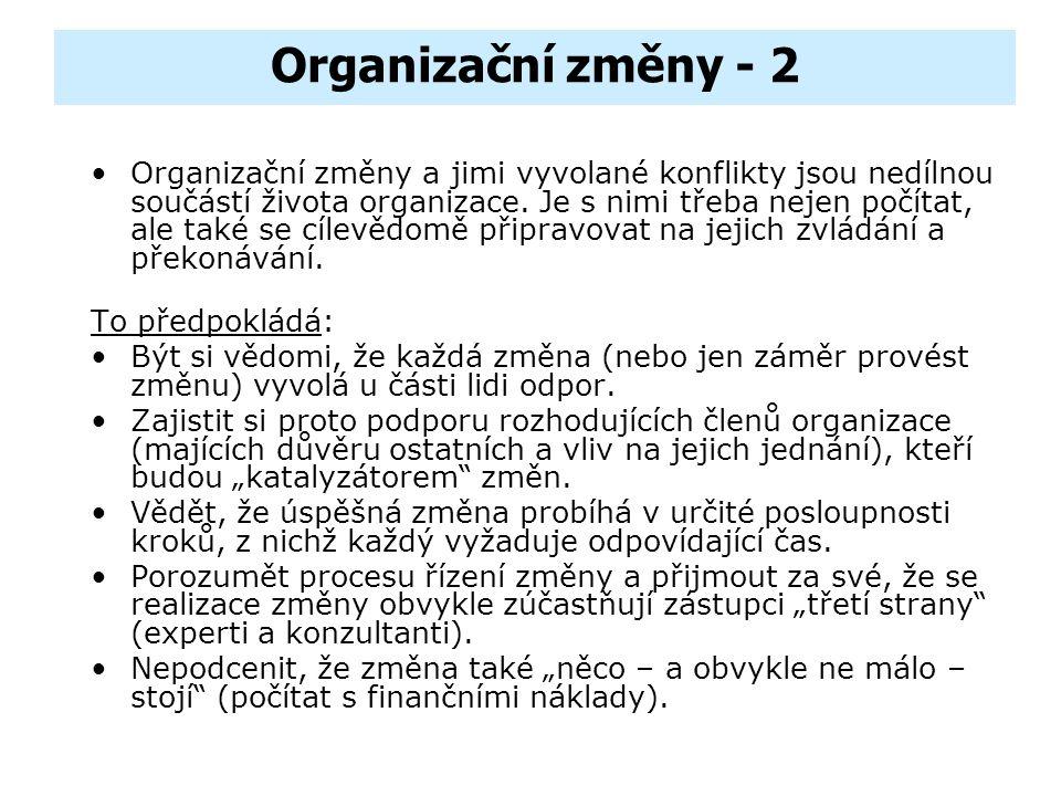 Organizační změny - 1 K organizačním změnám dochází v důsledku změn ve vnějším prostředí, na které organizace reagují úpravou (provedením změn) ve své