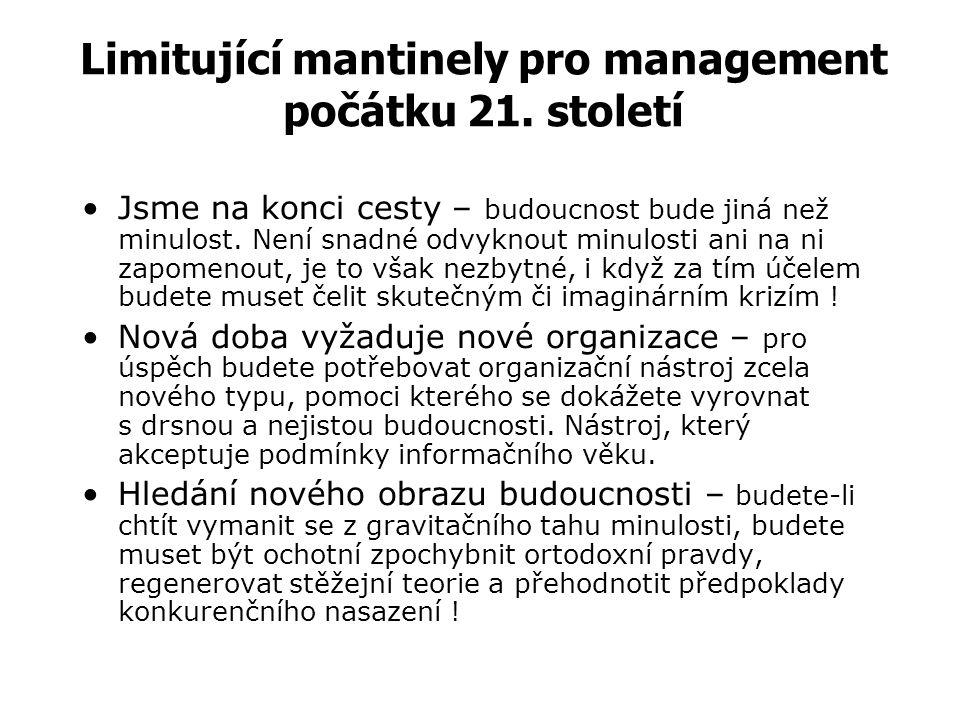 """PROSTŘEDÍ MANAGEMENTU Řízení organizace probíhá vždy v konkrétních podmínkách: a) Vnitřní podmínky organizace: –""""tvrdé"""" prvky (dané hmotnými veličinam"""