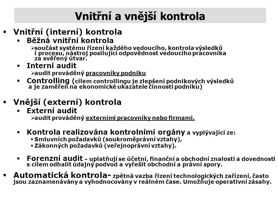 Poslání, klasifikace a fáze kontroly Vnitřní (interní) kontroly (internal or inside control) - organizují a zajišťují vlastní pracovníci firmy. Jde na