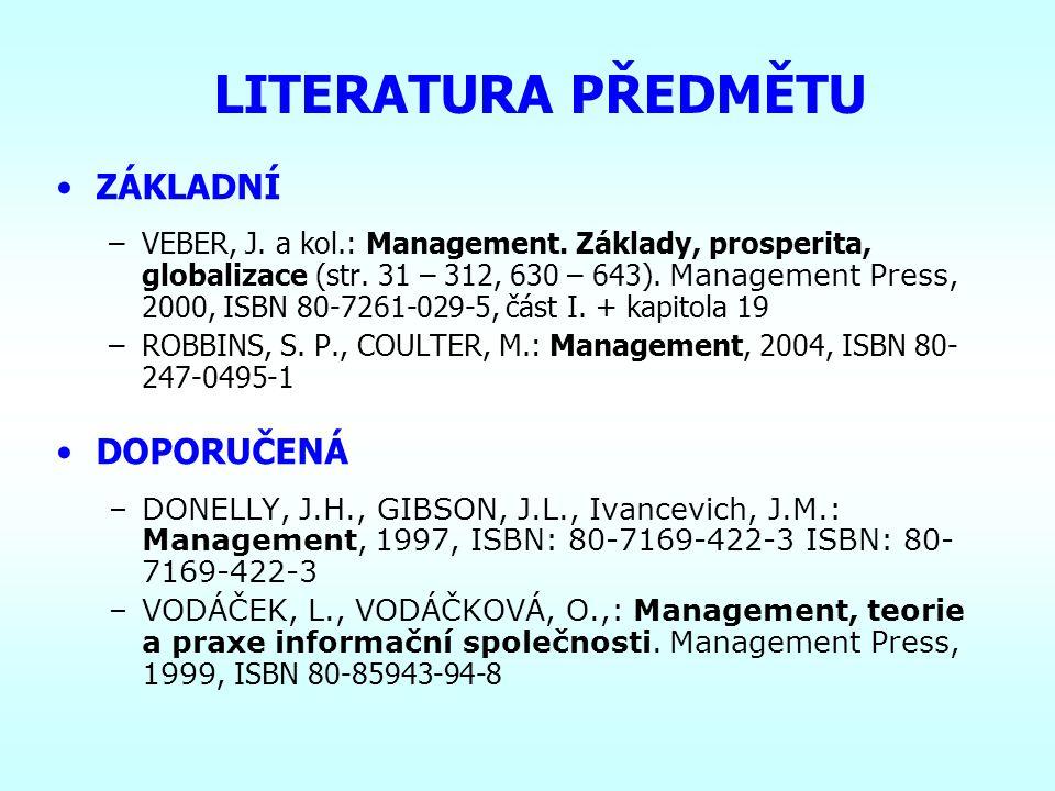 ZÁKLADY MANAGEMENTU 3MA 101 ANTUŠÁK Emil, Ing., Ph.D. e-mail:antusak@vse.cz Tel.: RB 453: 224 098 753 JM 316: 224 094 214