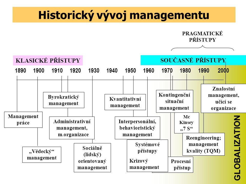 Vývoj managementu jako vědní disciplíny Většina autorů se shoduje v tom, že se management utvářel ve třech etapách a v současnosti prožívá etapu čtvrt