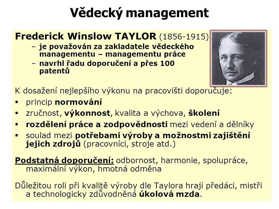 Vědecký management (americká škola – management práce) Představitele: F.W. Taylor – principy řízení práce H. Gantt – principy plánování práce Manželé