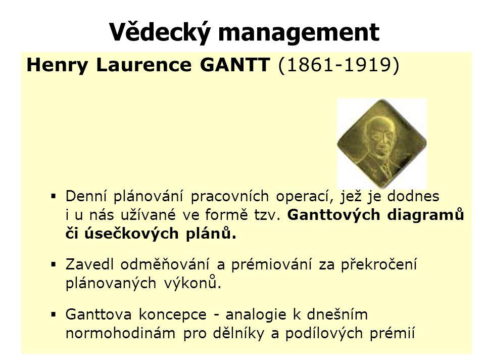 Vědecký management Frederick Winslow TAYLOR (1856-1915) –je považován za zakladatele vědeckého managementu – managementu práce –navrhl řadu doporučení
