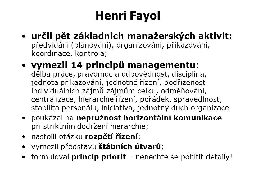 Administrativní management Henri FAYOL (1841-1925) P ředstavitel evropského vědeckého managementu – managementu organizace. Jako první se zabýval vlas