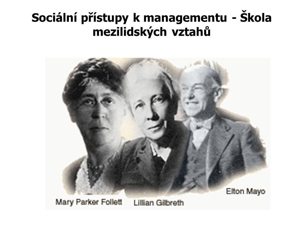 Sociálně (lidský) orientovaný management 30. – 50. léta 20. století Představitele: Elton Mayo, L. Gilbreth, Abraham Maslow, Frederick Herzberg Douglas