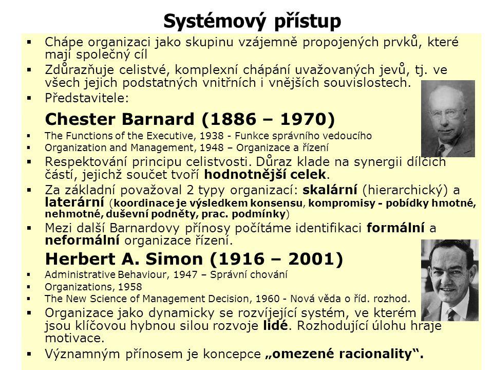 Procesní přístupy  Luther Hasley III. Gulick (1892 – 1993)  Lyndall Fownes Urwick (1891 – 1983) – systém POSDCORB – manažerské funkce  procesy mana