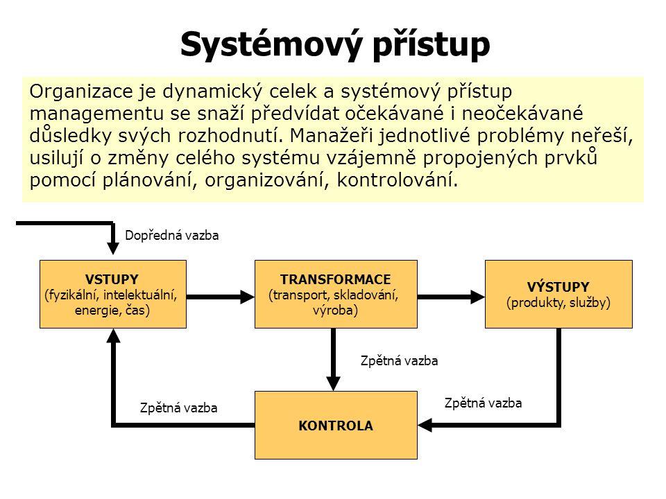 Systémový přístup  Chápe organizaci jako skupinu vzájemně propojených prvků, které mají společný cíl  Zdůrazňuje celistvé, komplexní chápání uvažova