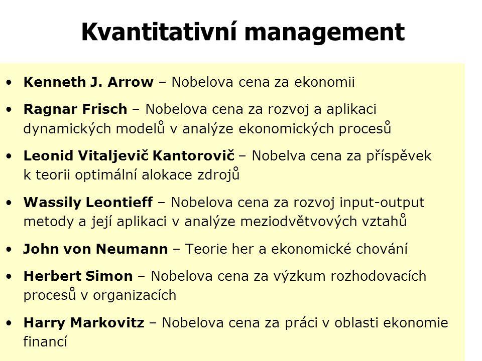 """Kvantitativní management  Rozvíjejí se v 50. a 60. letech.  """"Operační výzkum""""  Soubor přístupů a metod matematiky, statistiky apod., které slouží k"""
