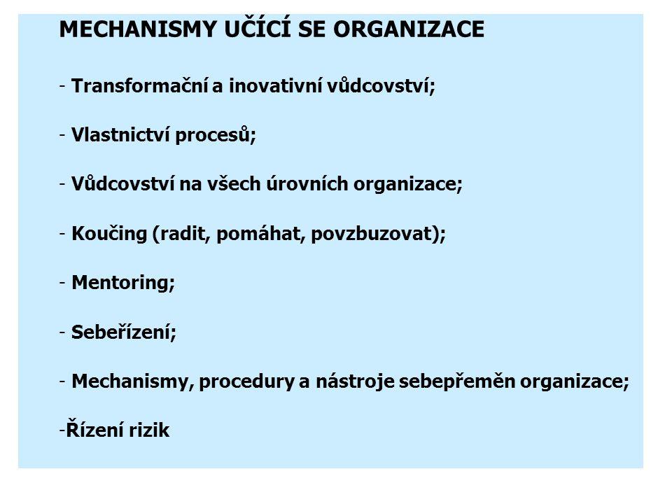 """Learning Organization """"učící se organizace"""" – využívá synergického efektu """"…. organizace, kde lidé soustavně rozvíjejí svoji schopnost tvořit skutečně"""