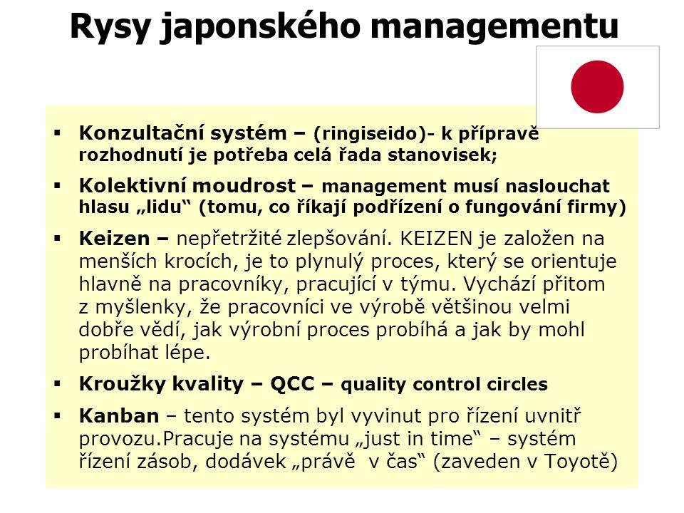Rysy japonského managementu …. Když Japonec ztratí tvář, vezme si život…  Obrácené řízení (vyšší zapojení nižších úrovní řízení a výkonných pracovník