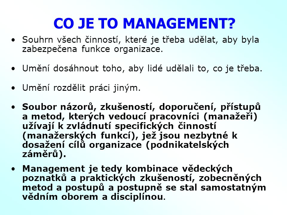CO JE TO MANAGEMENT.