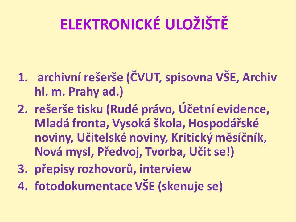 ELEKTRONICKÉ ULOŽIŠTĚ 1. archivní rešerše (ČVUT, spisovna VŠE, Archiv hl. m. Prahy ad.) 2.rešerše tisku (Rudé právo, Účetní evidence, Mladá fronta, Vy