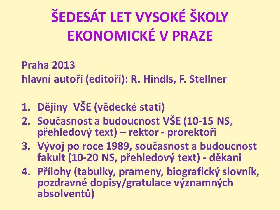 ŠEDESÁT LET VYSOKÉ ŠKOLY EKONOMICKÉ V PRAZE Praha 2013 hlavní autoři (editoři): R. Hindls, F. Stellner 1.Dějiny VŠE (vědecké stati) 2.Současnost a bud
