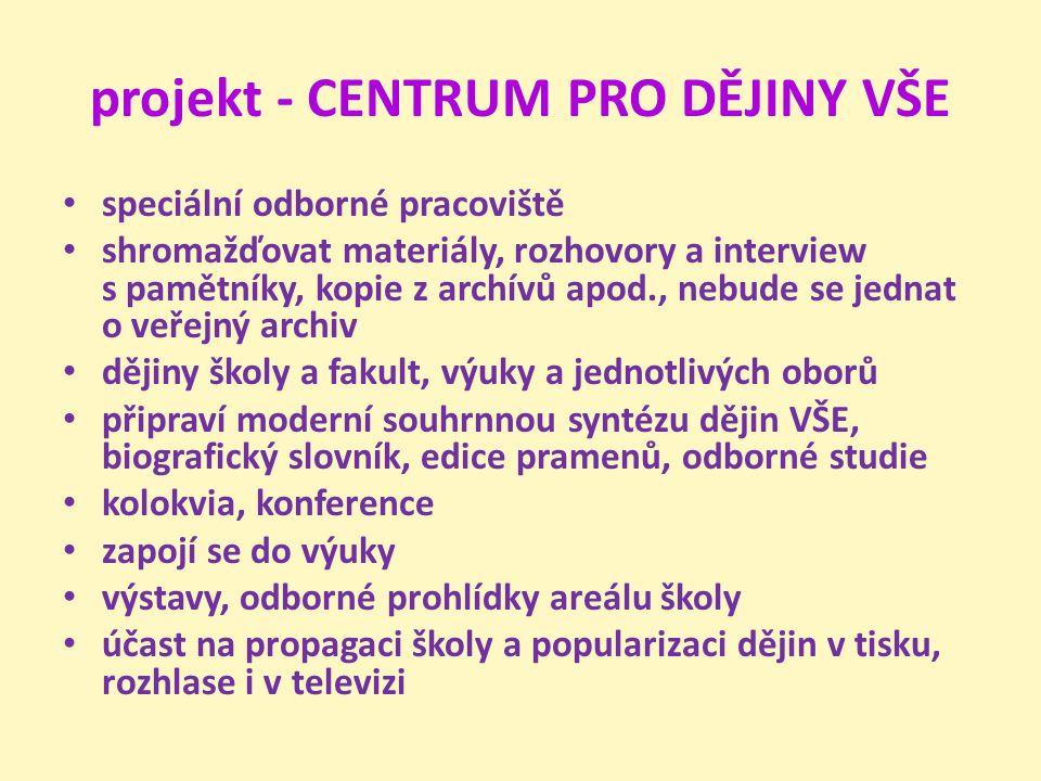 projekt - CENTRUM PRO DĚJINY VŠE speciální odborné pracoviště shromažďovat materiály, rozhovory a interview s pamětníky, kopie z archívů apod., nebude