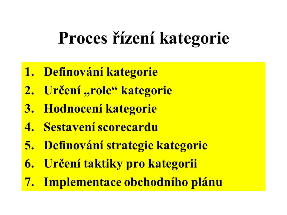 """Proces řízení kategorie 1.Definování kategorie 2.Určení """"role"""" kategorie 3.Hodnocení kategorie 4.Sestavení scorecardu 5.Definování strategie kategorie"""
