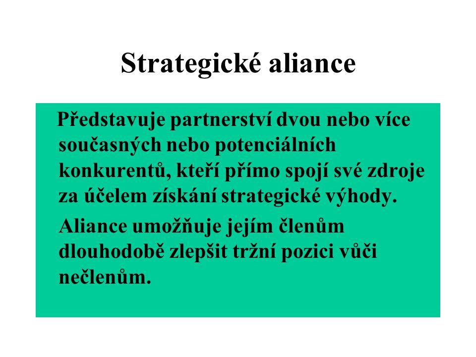 Strategické aliance Představuje partnerství dvou nebo více současných nebo potenciálních konkurentů, kteří přímo spojí své zdroje za účelem získání st