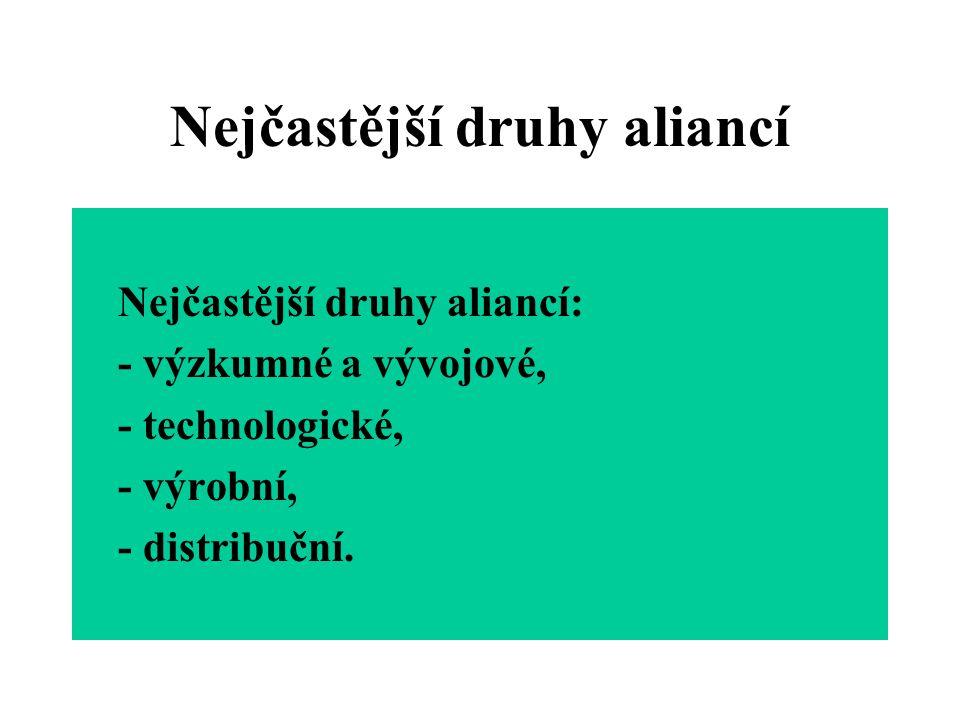 Nejčastější druhy aliancí Nejčastější druhy aliancí: - výzkumné a vývojové, - technologické, - výrobní, - distribuční.