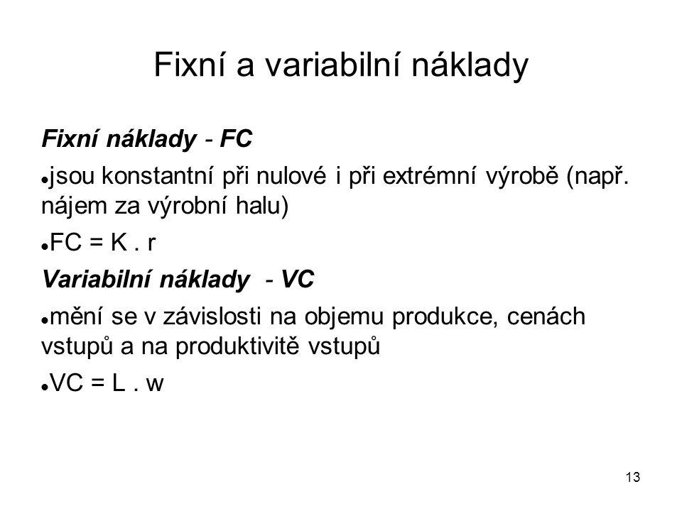 13 Fixní a variabilní náklady Fixní náklady - FC jsou konstantní při nulové i při extrémní výrobě (např. nájem za výrobní halu) FC = K. r Variabilní n