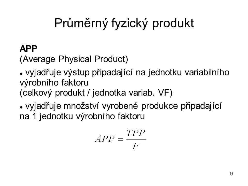9 Průměrný fyzický produkt APP (Average Physical Product) vyjadřuje výstup připadající na jednotku variabilního výrobního faktoru (celkový produkt / j
