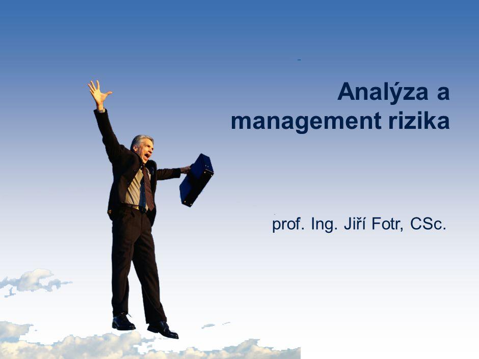 prof. Ing. Jiří Fotr, CSc. Analýza a management rizika