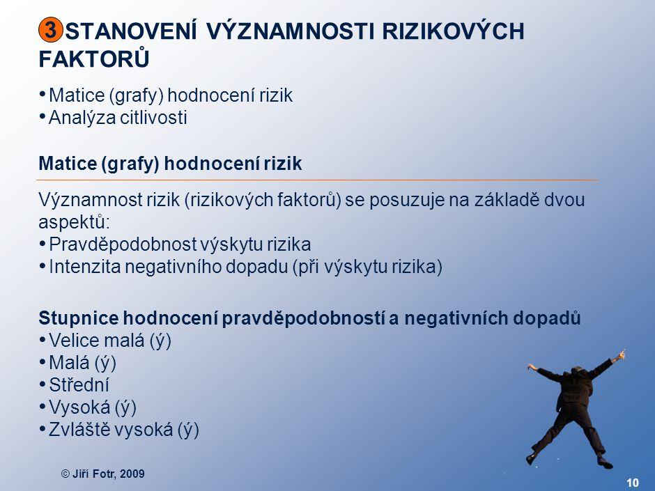 © Jiří Fotr, 2009 10 STANOVENÍ VÝZNAMNOSTI RIZIKOVÝCH FAKTORŮ 3 Matice (grafy) hodnocení rizik Analýza citlivosti Matice (grafy) hodnocení rizik Význa