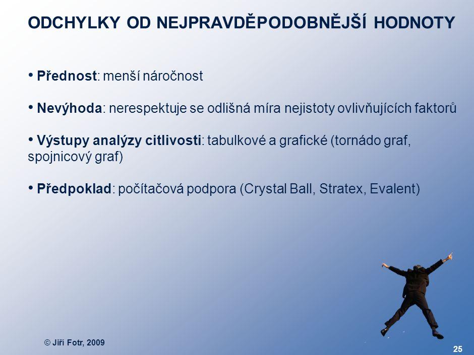 © Jiří Fotr, 2009 25 ODCHYLKY OD NEJPRAVDĚPODOBNĚJŠÍ HODNOTY Přednost: menší náročnost Nevýhoda: nerespektuje se odlišná míra nejistoty ovlivňujících