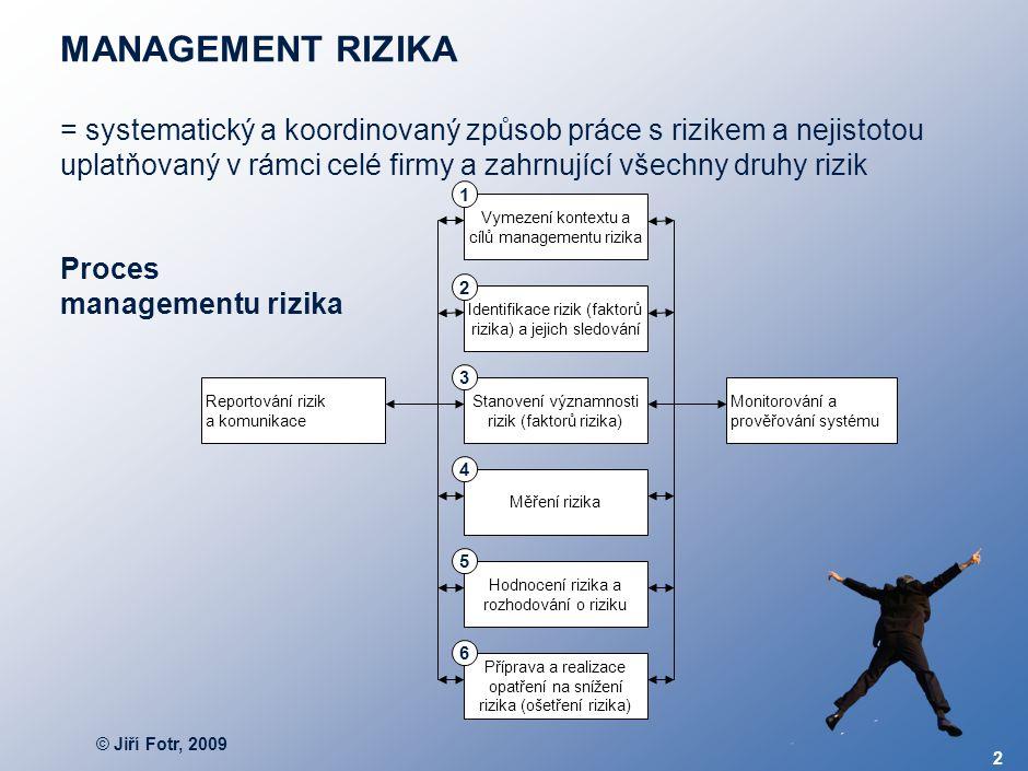 © Jiří Fotr, 2009 2 MANAGEMENT RIZIKA = systematický a koordinovaný způsob práce s rizikem a nejistotou uplatňovaný v rámci celé firmy a zahrnující vš