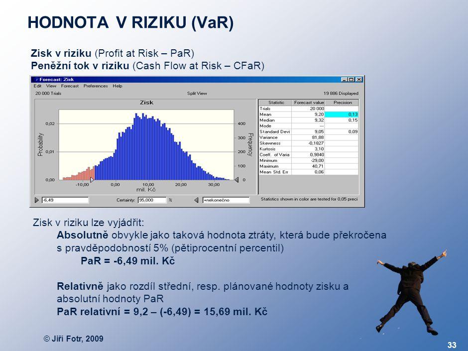© Jiří Fotr, 2009 33 HODNOTA V RIZIKU (VaR) Zisk v riziku (Profit at Risk – PaR) Peněžní tok v riziku (Cash Flow at Risk – CFaR) Zisk v riziku lze vyj