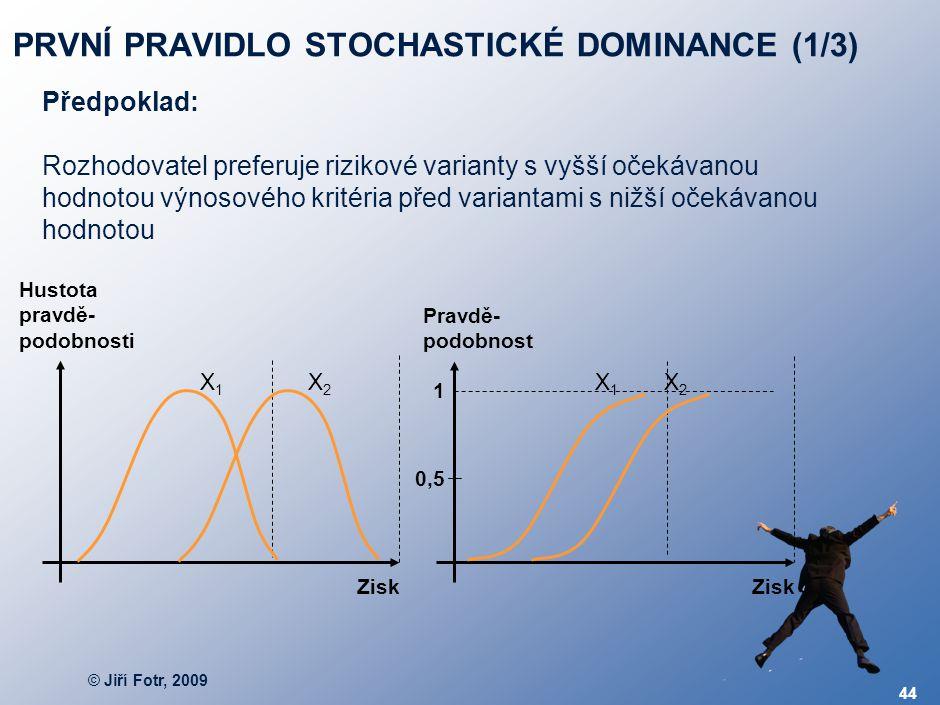 © Jiří Fotr, 2009 44 PRVNÍ PRAVIDLO STOCHASTICKÉ DOMINANCE (1/3) Předpoklad: Rozhodovatel preferuje rizikové varianty s vyšší očekávanou hodnotou výno