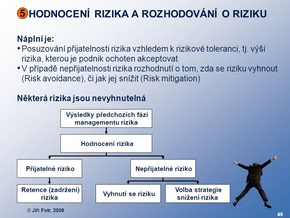 © Jiří Fotr, 2009 49 HODNOCENÍ RIZIKA A ROZHODOVÁNÍ O RIZIKU 5 Náplní je: Posuzování přijatelnosti rizika vzhledem k rizikové toleranci, tj. výši rizi