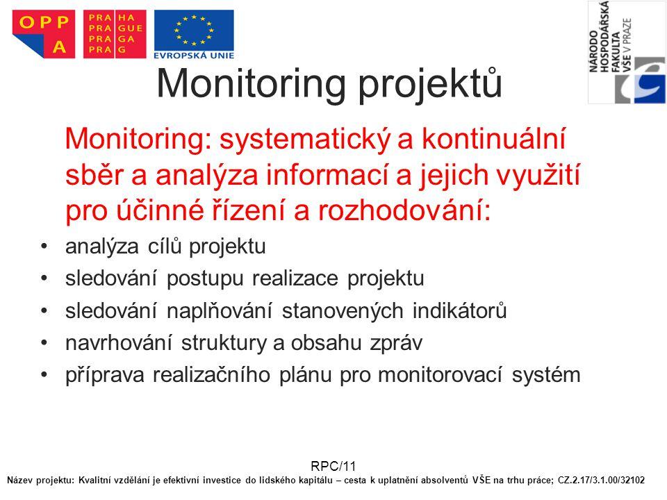 RPC/11 Monitoring projektů Monitoring: systematický a kontinuální sběr a analýza informací a jejich využití pro účinné řízení a rozhodování: analýza cílů projektu sledování postupu realizace projektu sledování naplňování stanovených indikátorů navrhování struktury a obsahu zpráv příprava realizačního plánu pro monitorovací systém Název projektu: Kvalitní vzdělání je efektivní investice do lidského kapitálu – cesta k uplatnění absolventů VŠE na trhu práce; CZ.2.17/3.1.00/32102