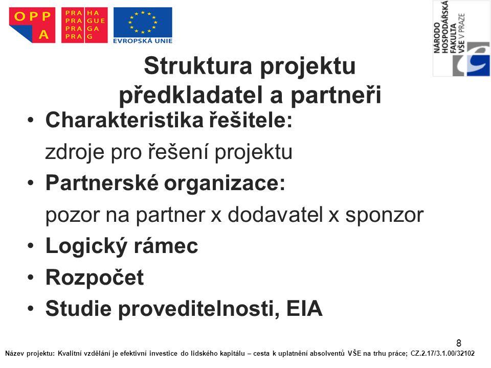 8 Struktura projektu předkladatel a partneři Charakteristika řešitele: zdroje pro řešení projektu Partnerské organizace: pozor na partner x dodavatel