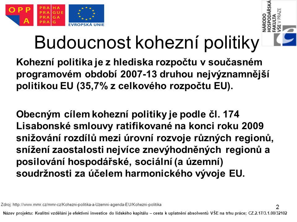 2 Budoucnost kohezní politiky Kohezní politika je z hlediska rozpočtu v současném programovém období 2007-13 druhou nejvýznamnější politikou EU (35,7% z celkového rozpočtu EU).