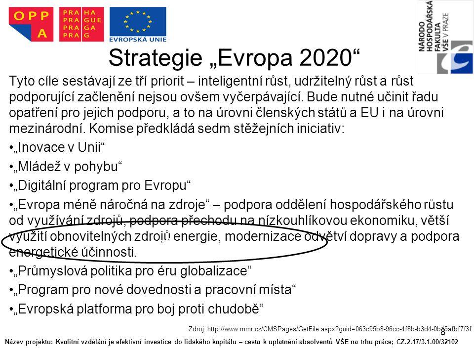"""8 Strategie """"Evropa 2020 Tyto cíle sestávají ze tří priorit – inteligentní růst, udržitelný růst a růst podporující začlenění nejsou ovšem vyčerpávající."""