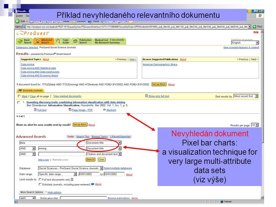 12 Nevyhledán dokument Pixel bar charts: a visualization technique for very large multi-attribute data sets (viz výše) Příklad nevyhledaného relevantního dokumentu