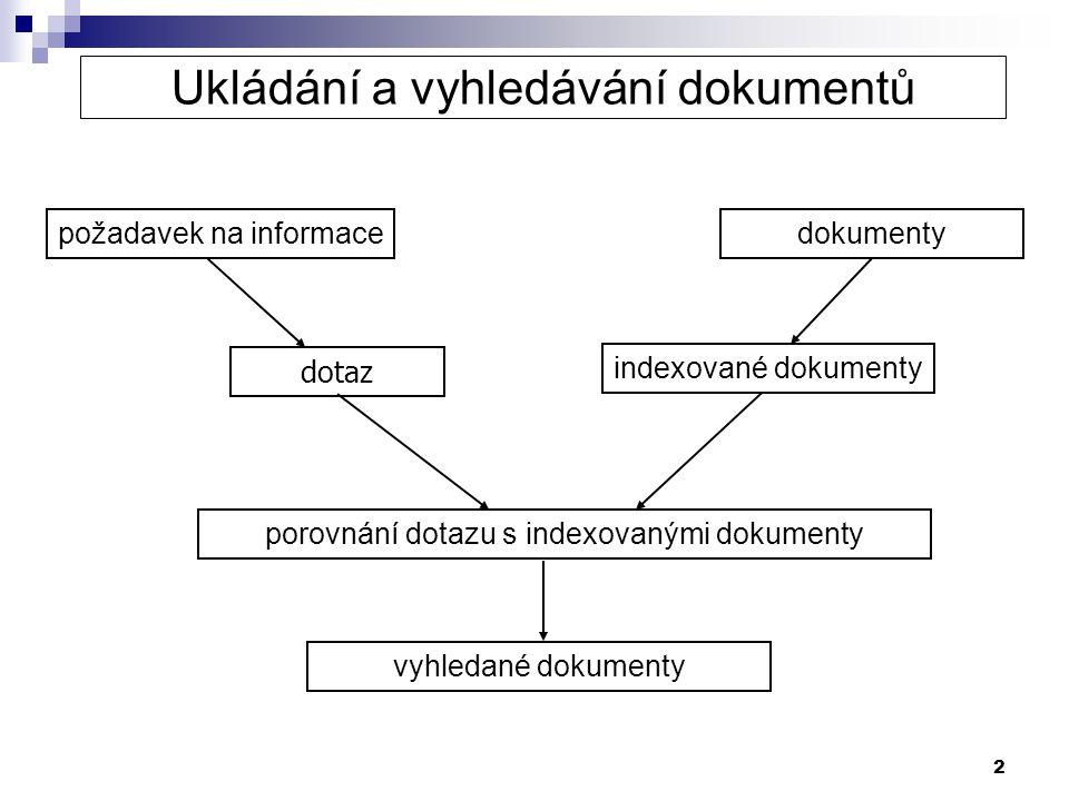 3 Ukládání a vyhledávání dokumentů – výsledky DOKUMENTYrelevantníirelevantní vyhledanéab nevyhledanécd a = počet relevantních vyhledaných dokumentů b = počet irelevantních vyhledaných dokumentů c = počet relevantních nevyhledaných dokumentů d = počet irelevantních nevyhledaných dokumentů